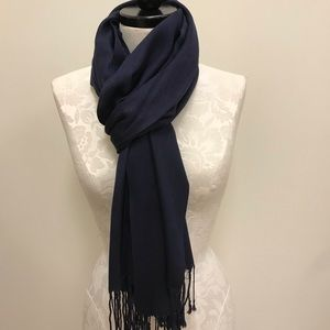 NWT Pashmina Navy Blue Solid Scarf